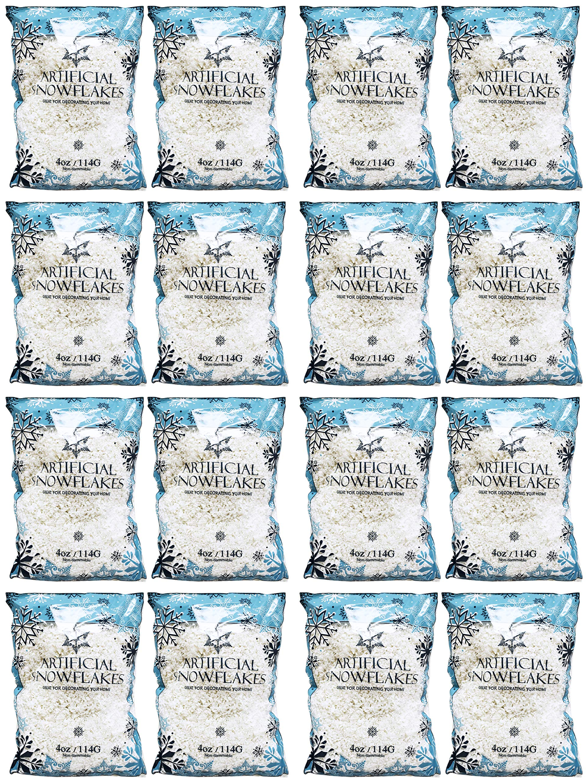 Black Duck Brand Set of 16 Snow Artificial Flakes 4 Oz Bags! Festive Fake Snow for Crafts, Christmas, and Decor!