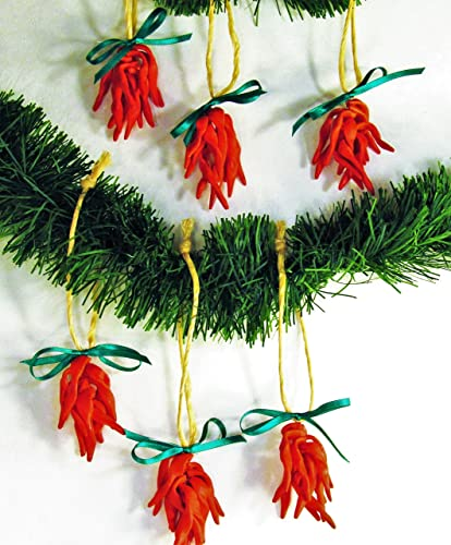 225 set of 6 christmas ornaments mini porcelain clay red chile ristra chili pepper tree