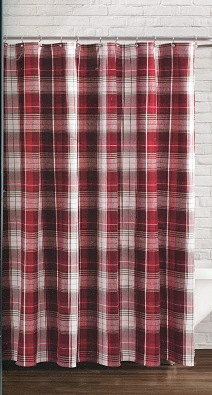 Amazon.com: Winter Wonderland Winter Retreat Plaid Fabric Shower ...
