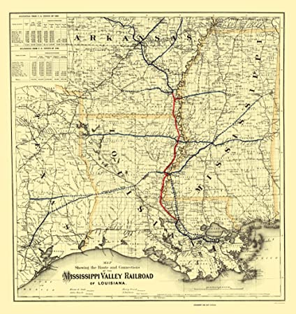 bdd5573492b9d Amazon.com: Old Railroad Map - Mississippi Valley Railroad of ...