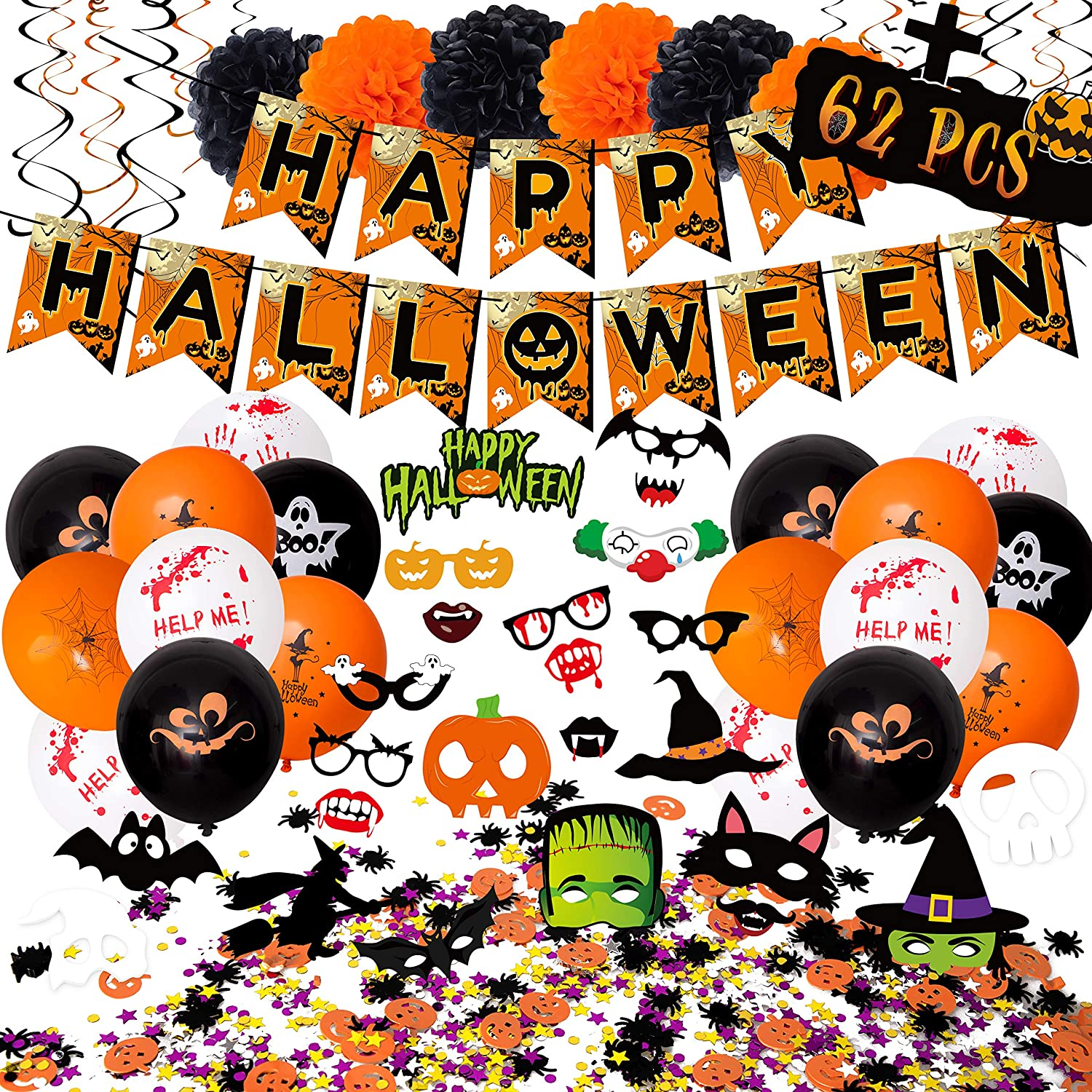 62PCS Halloween Party Decorations Set - Hallowmas Photo Booth Props Banner Balloons Pom Poms Hanging Swirls Spider Pumpkin Ornaments Supplies: Kitchen & Dining