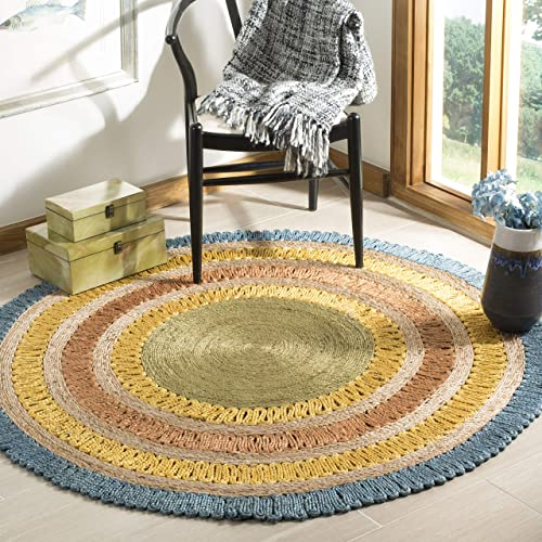 Safavieh Natural Fiber Collection NF201C Hand-Woven Blue and Multi Jute Round Area Rug 7'
