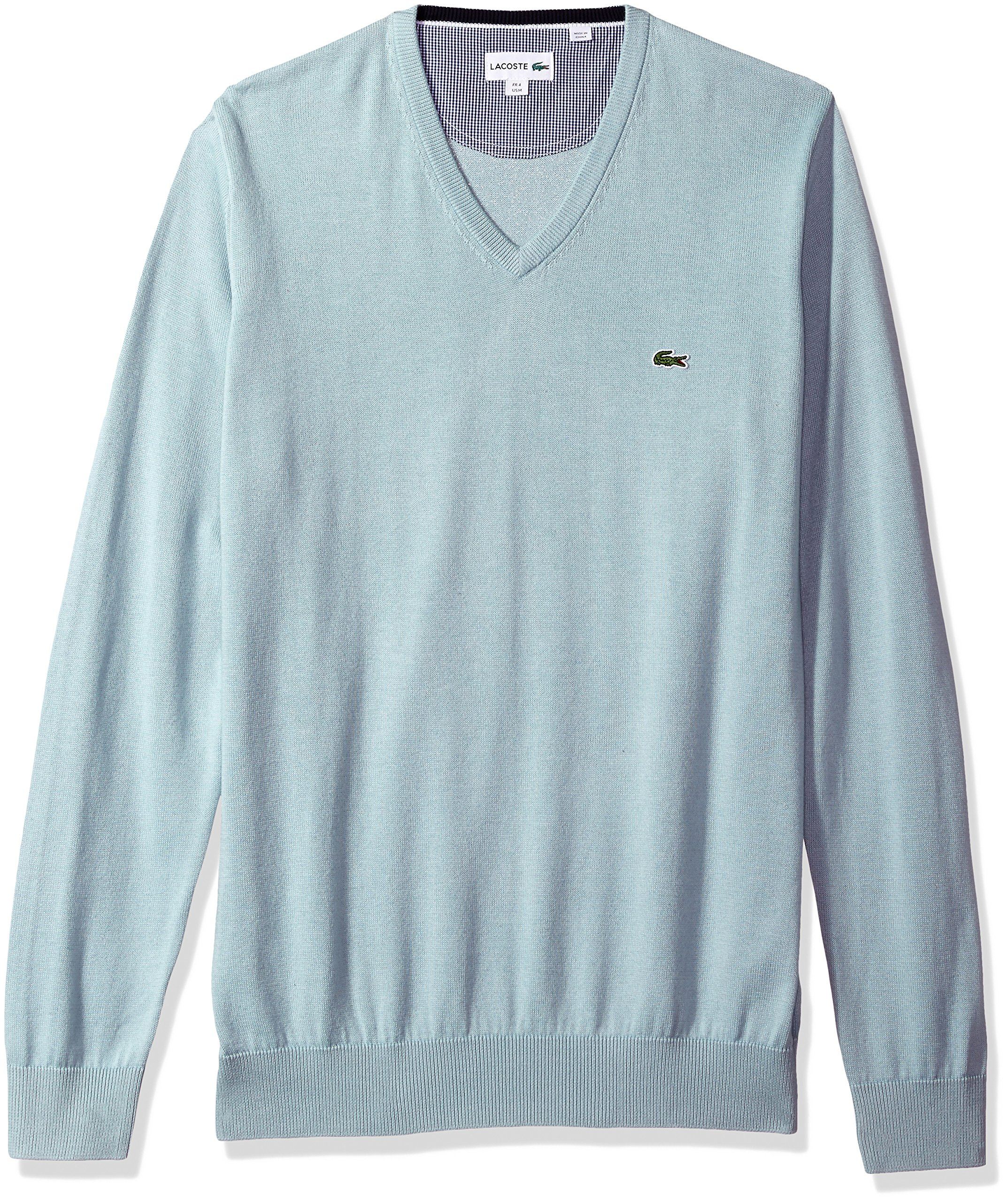 Lacoste Men's V Neck Cotton Jersey Sweater with Green Croc, Shower, 6 by Lacoste (Image #1)