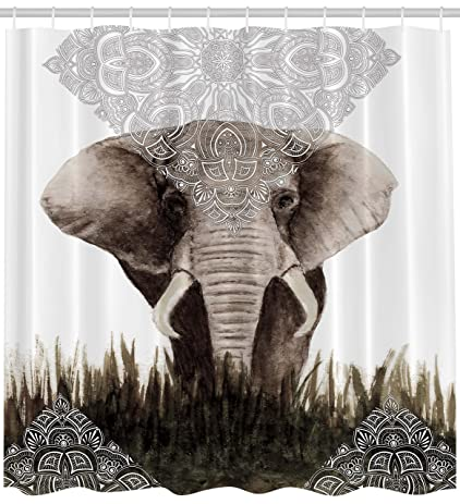 elephant shower curtain animal decor bohemian boho by ambesonne henna tattoo designs theme nepal uncommon