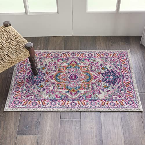 Nourison PSN20 Passion Persian Colorful Light Grey Pink Area Rug 1 10 X 2 10 , 2 x 3
