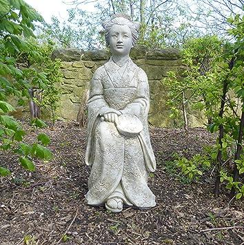 Beau Grande Statue Geisha Japonaise De Jardin