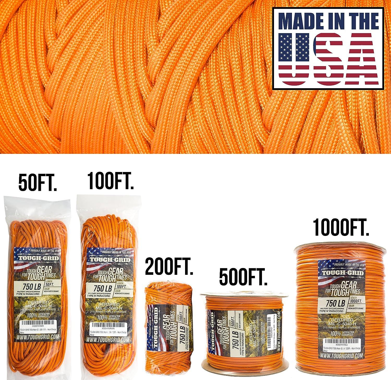出産祝い tough-grid 750lbパラコード/パラシュートコード (Safety) – in 純正MilスペックタイプIV 750lbパラコード使用by the US Military Neon (mil-c-5040-h) – 100 %ナイロン – Made in the USA。 B00F9GIS4U Neon (Safety) Orange 50Ft. (COILED IN BAG) 50Ft. (COILED IN BAG)|Neon (Safety) Orange, スポーツジュエン:1de31cbc --- a0267596.xsph.ru