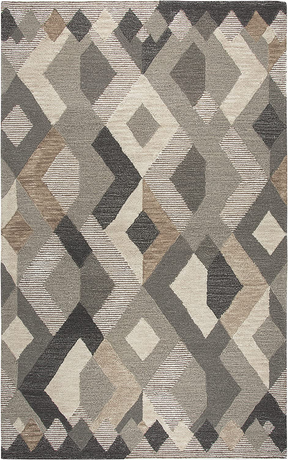 Rizzy Home Idyllic Collection Wool Area Rug, 9' x 12', Natural/Gray/Rust/Blue Geometric