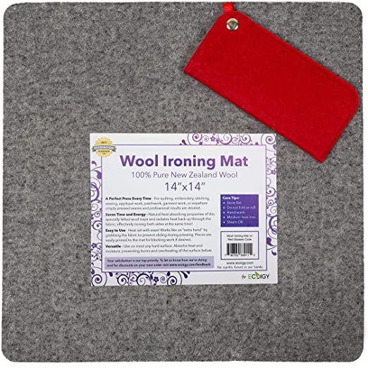 14x14 Easy Portable Craft Mat for Travel Iron Heat Press Quilting Supplies QUILTERS BEST FELTED WOOL PRESSING MAT for Quilting; IMPROVED Wool Ironing Pad for Quilters Wool Ironing Mat Steam Iron