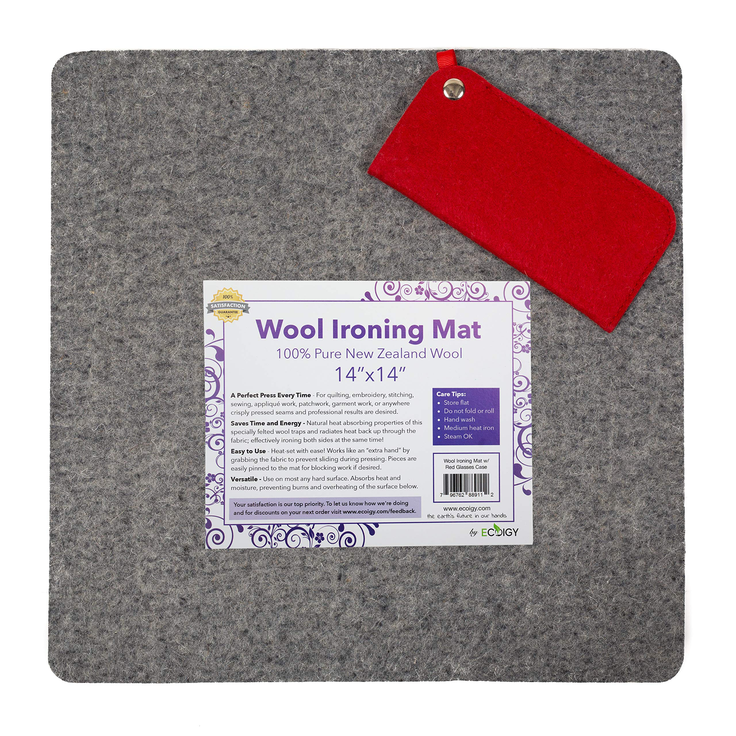 Ecoigy 14'' x 14'' Wool Ironing Pad, 1/2'' Thick Wool Pressing Mat for Quilting, 100% New Zealand Wool Quilting Mat, Quilting Supplies and Notions, Best Ironing Mat with a Bonus Eyeglasses Case by Ecoigy