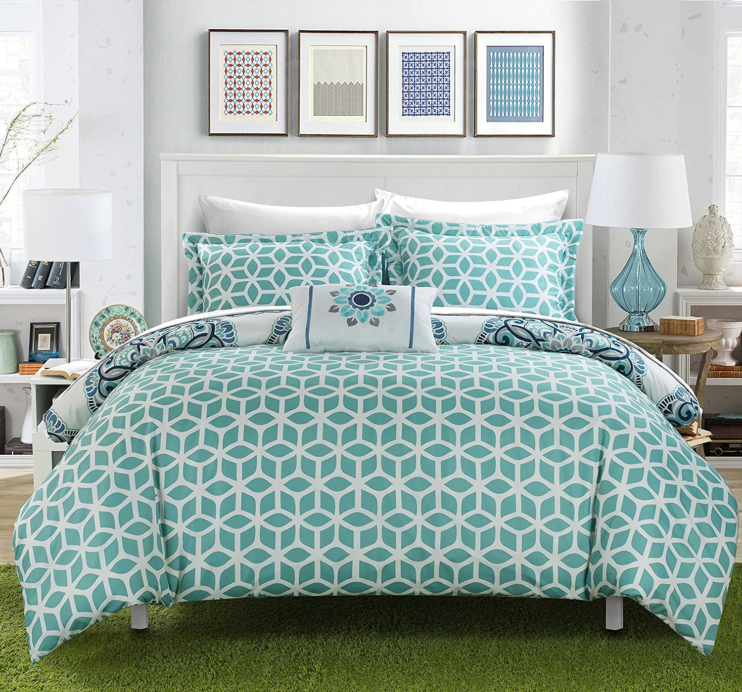 Amazon.com: Chic Home Barcelona 8 Piece Reversible Comforter Set Super Soft  Microfiber Large Printed Medallion Design With Geometric Patterned Backing  Bed ...