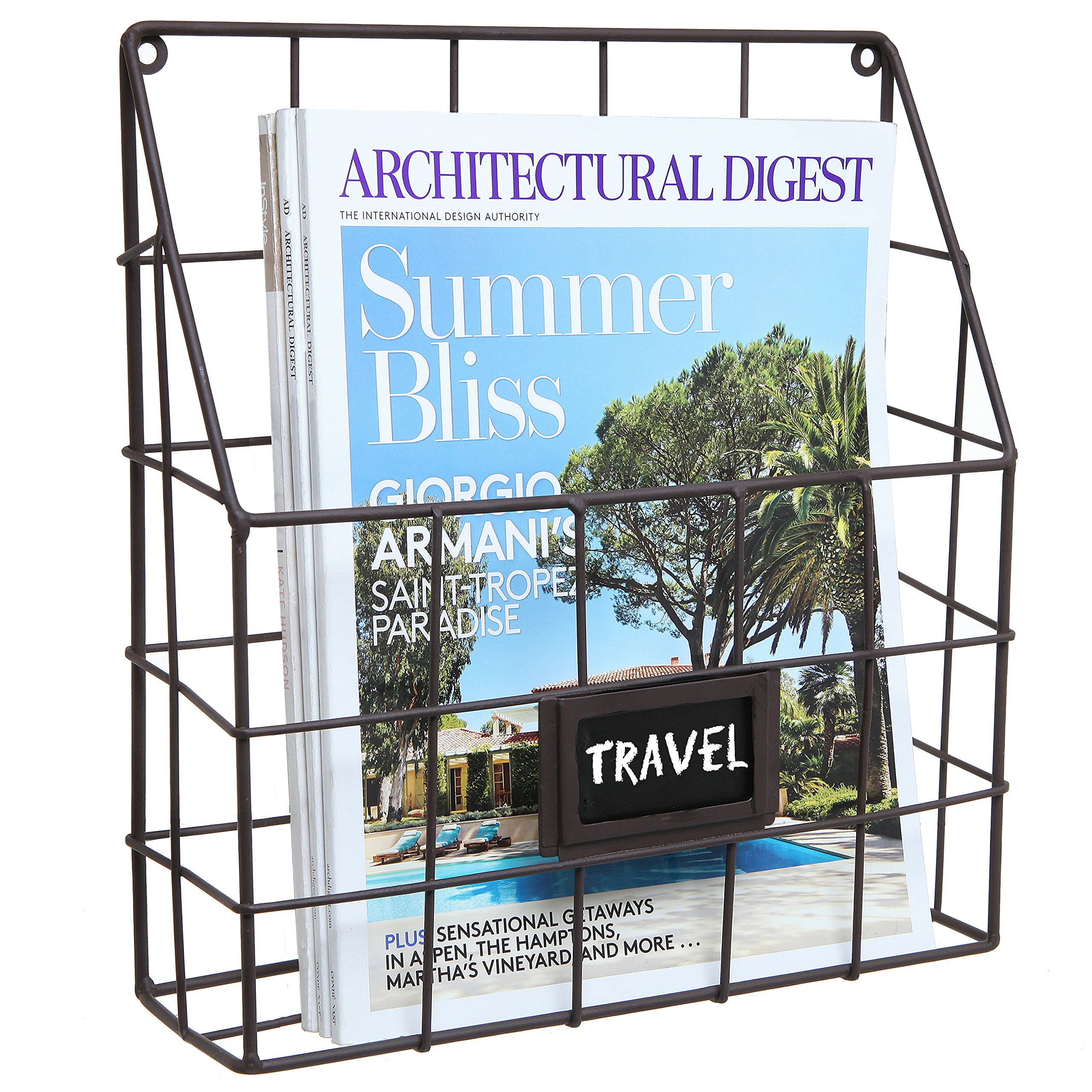 Brown Metal Wire Wall Magazine Rack Bin / Newspaper Rack / Wall Mounted Mail Sorter with Chalkboard Label
