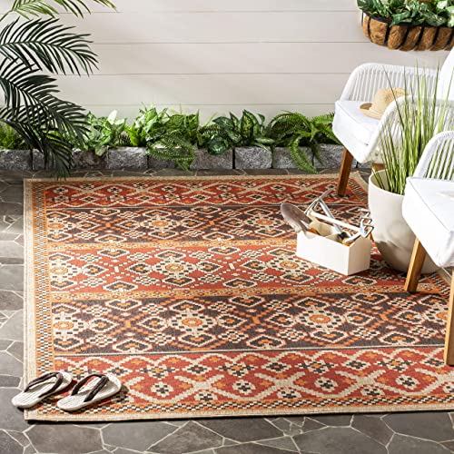 Safavieh Veranda Collection VER093-0332 Red and Chocolate 9 x 12 Area Rug