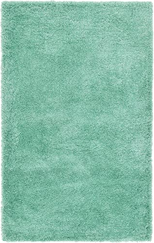 Unique Loom Luxe Solo Collection Plush Modern Feldspar Green Area Rug 5 0 x 8 0
