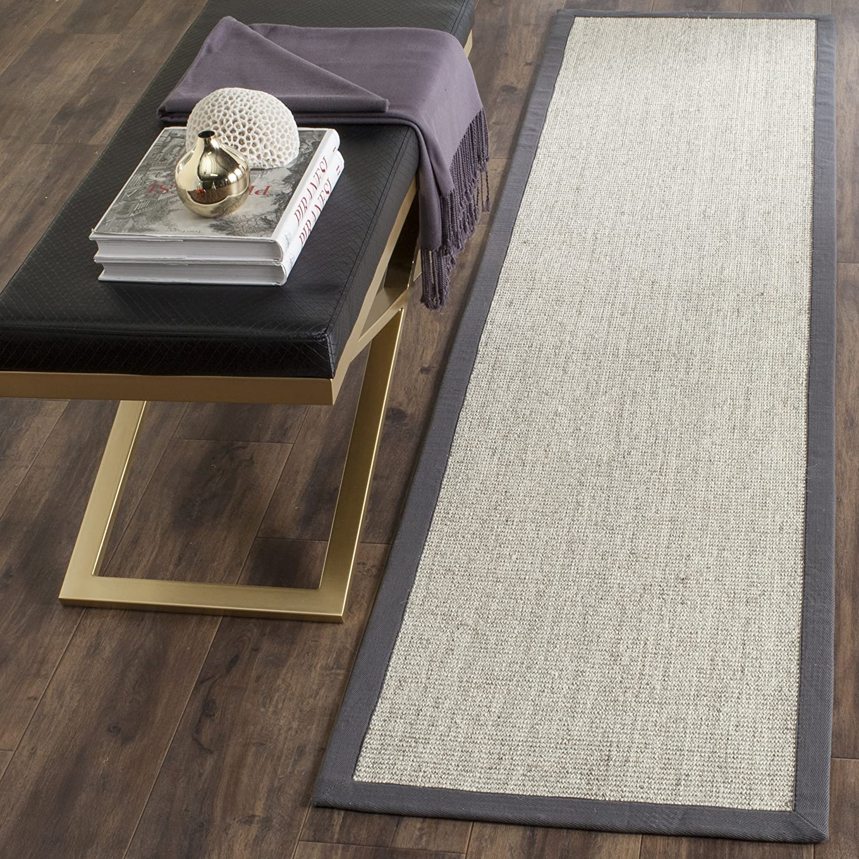 Amazon Com Safavieh Natural Fiber Collection Nf441b Border Sisal Runner 2 6 X 8 Marble Grey Furniture Decor
