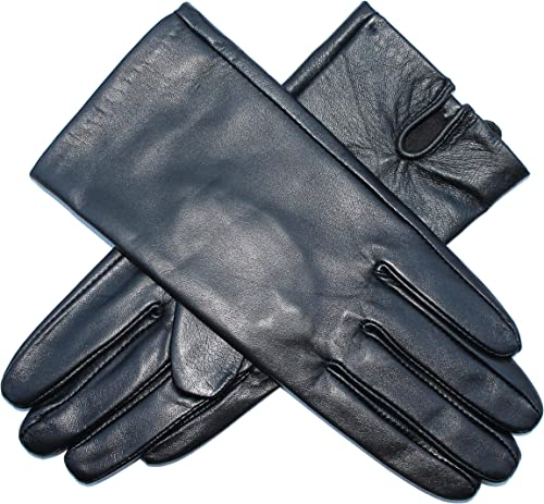 Jasmine Silk Ladies Genuine Lambskin Leather Cashmere Lined Gloves BLACK