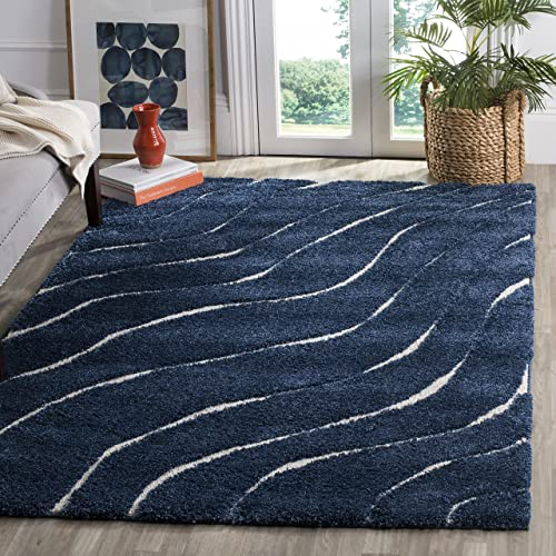 Safavieh Florida Shag Collection SG472-6511 Abstract Wave Textured 1.18-inch Thick Area Rug