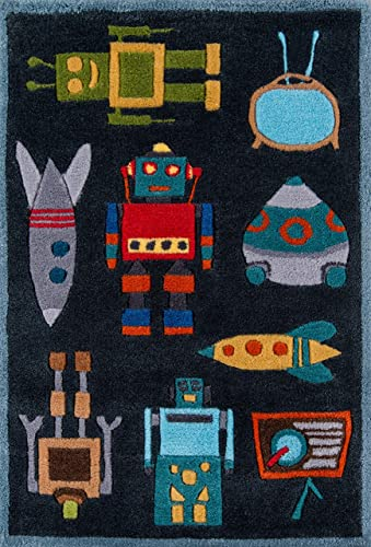 Momeni Rugs Lil Mo Whimsy Collection, Kids Themed Hand Carved Tufted Area Rug, 2 x 3 , Robots Steel Blue