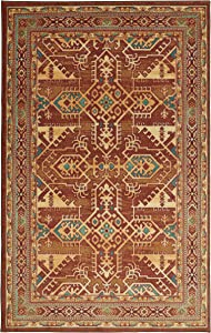 Mohawk Home Prismatic Norwalk Brown Southwest Aztec Precision Printed Area Rug, 8'x10', Red and Orange