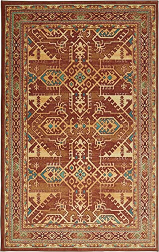 Mohawk Home Prismatic Norwalk Brown Southwest Aztec Precision Printed Area Rug, 8 x10 , Red and Orange