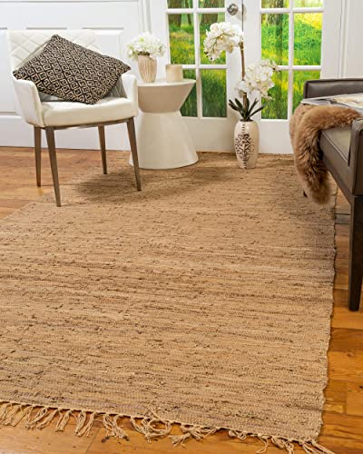 Natural Area Rugs Handmade Reversible Contemporary Limassol Leather Rug 5 x 8 Wood