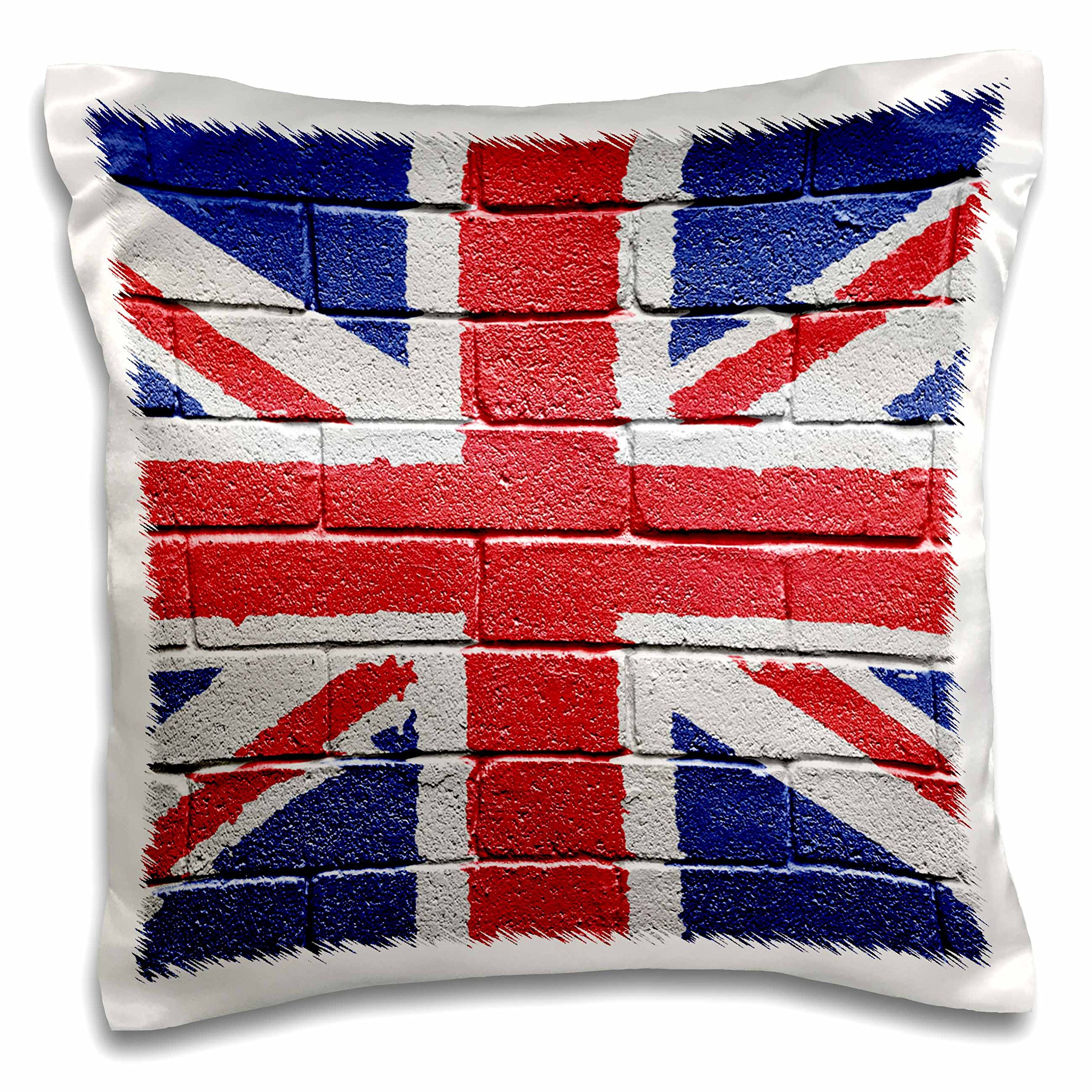 3dRose UK United Kingdom Great Britain British Flag on Brick Wall National Country-Pillow Case, 16 by 16'' (pc_155120_1)
