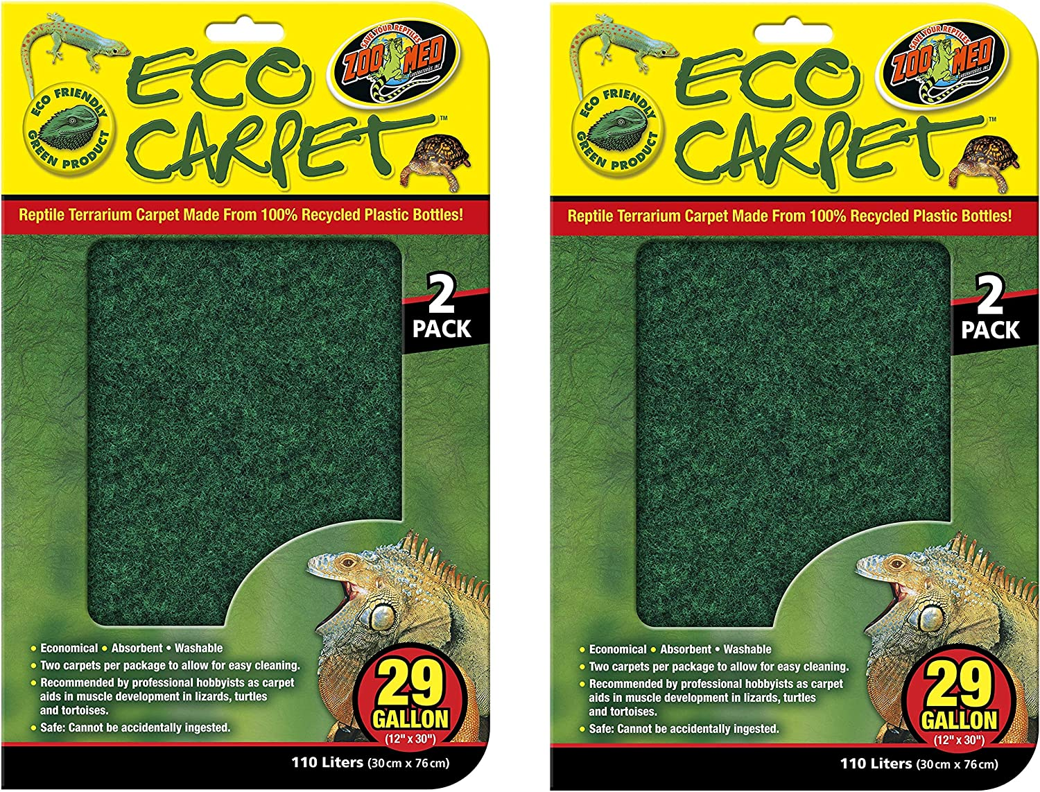 """(4 Pack) Zoo Med Repti Cage Carpet for 29 Gallon Tanks, 12"""" x 30"""" - 2 Packages with 2 carpets each"""
