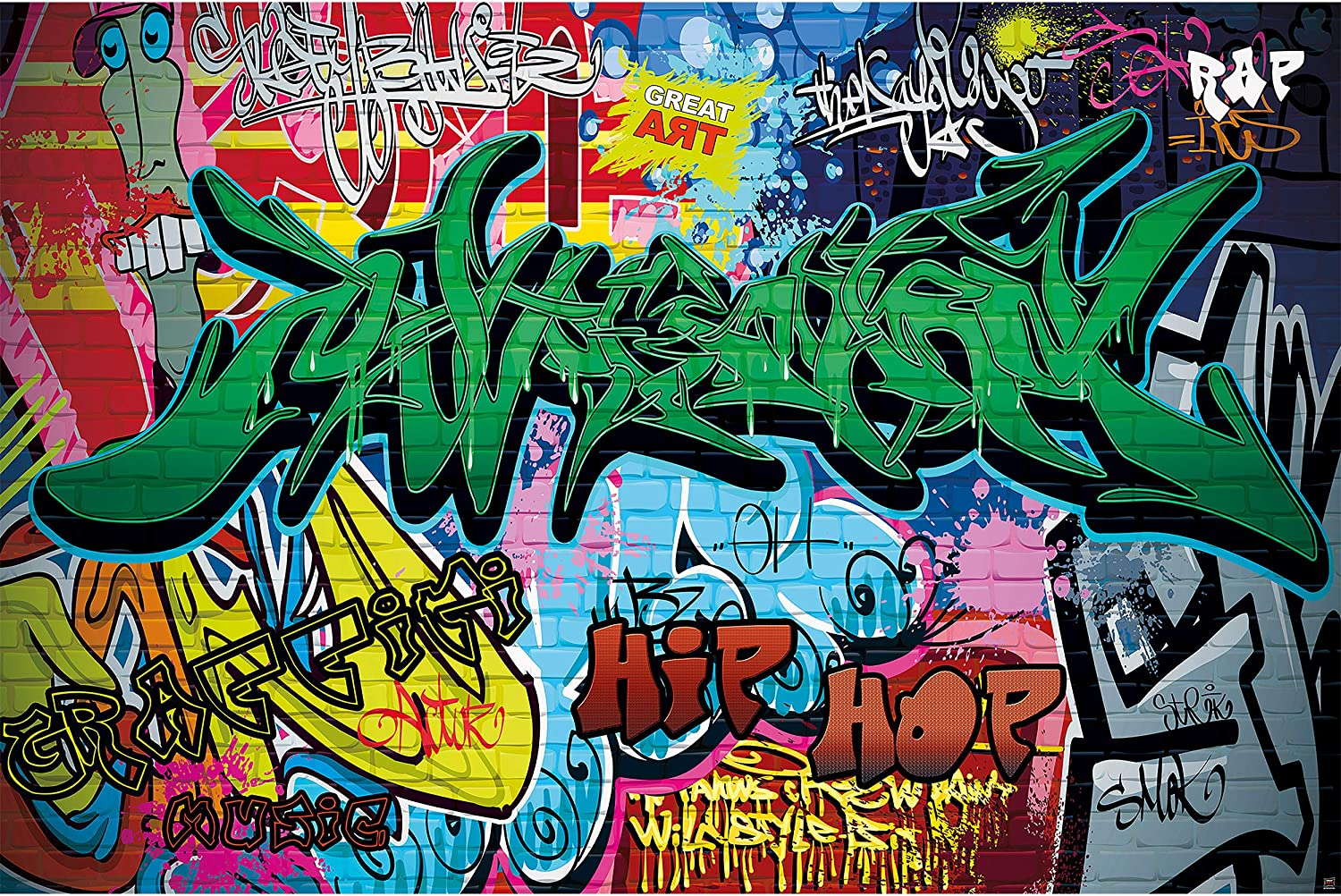 Kid's Room Nursery Large Photo Wallpaper – Graffiti Wall – Picture Decoration Colorful Writing Pop Art Street Style Hip Hop Image Decor Wall Mural (132.3x93.7in - 336x238cm)