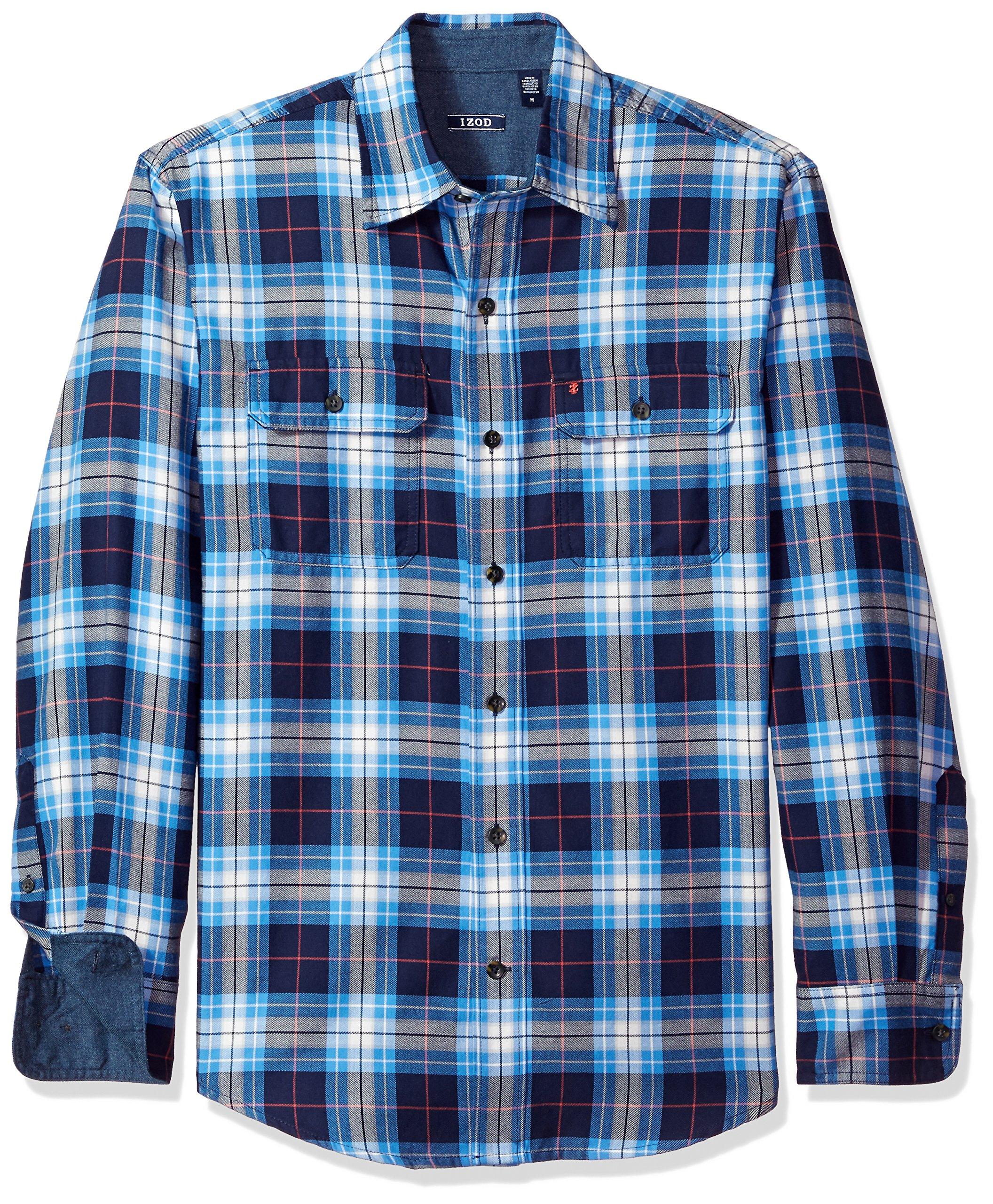 IZOD Men's Long Sleeve Saltwater Twill Easycare Plaid Shirt, Peacoat, 2X-Large