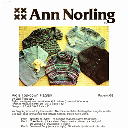 6255c23ac Amazon.com  Ann Norling Pattern  53 Kids Basic Top Down Sweaters ...