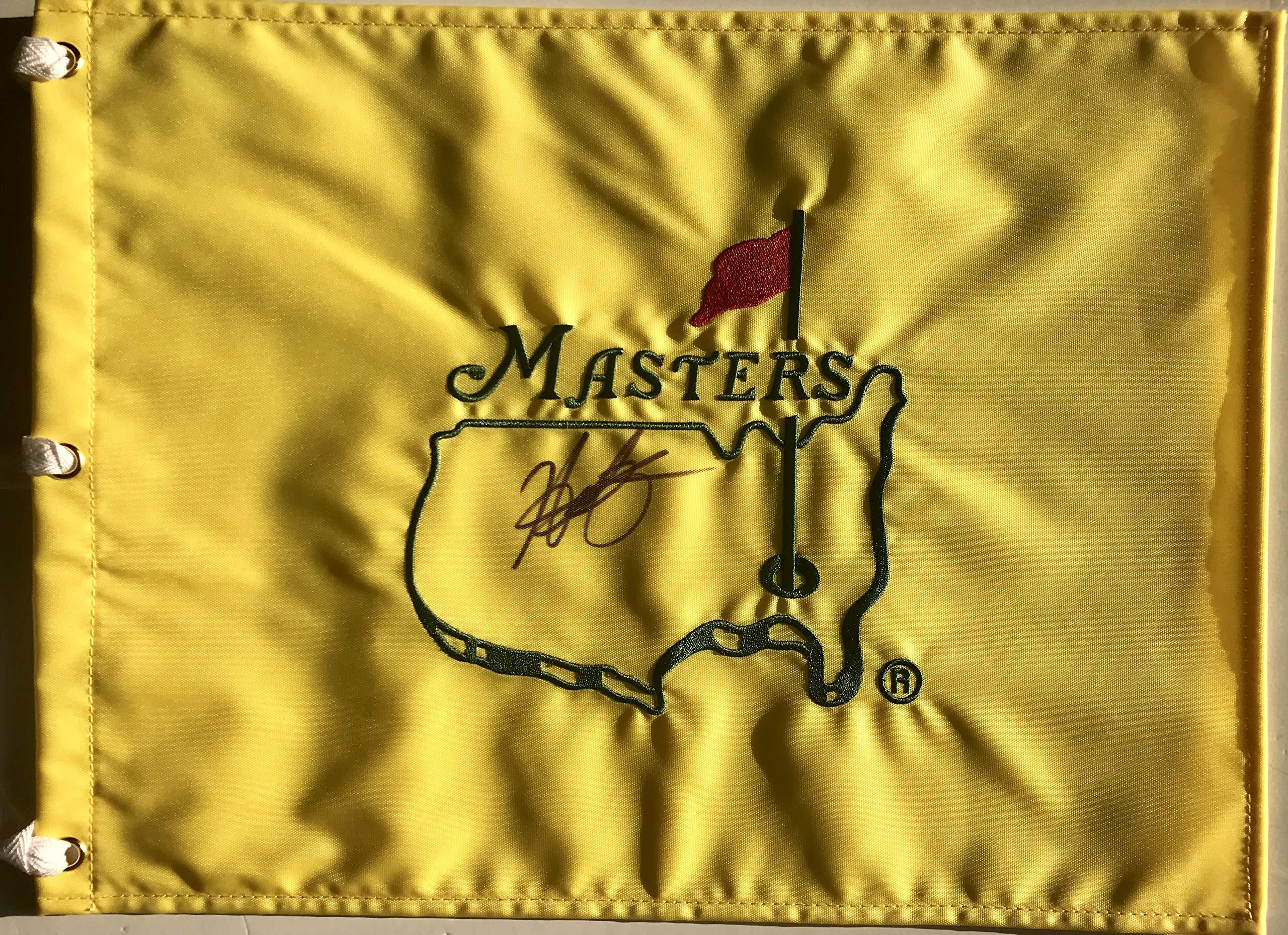 Hideki Matsuyama signed Masters flag undated 2018 pga golf japan
