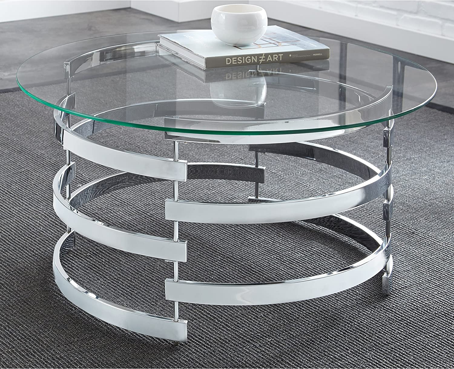 Amazon Com Modern Round Glass Top Coffee Table With Chrome Open Base Includes Modhaus Living Pen Kitchen Dining