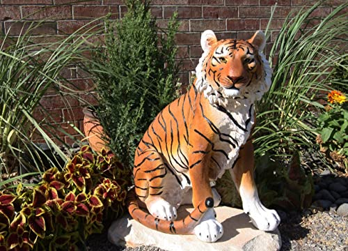 Ebros Large 20″ Tall Realistic Orange Bengal Tiger Raja Sitting On Guard Decorative Resin Statue As Guest Greeter Welcome Home Decor Figurine As Jungle Giant Cat Apex Predator Sculpture
