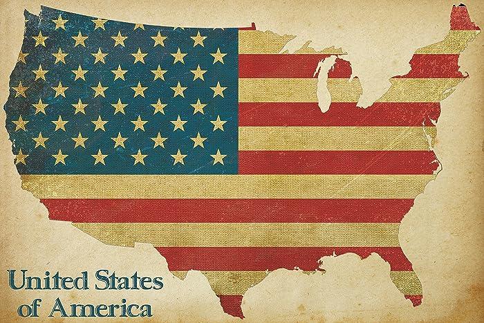 Amazon.com: Vintage American Flag Wall Art, American Flag Decor, 4th ...