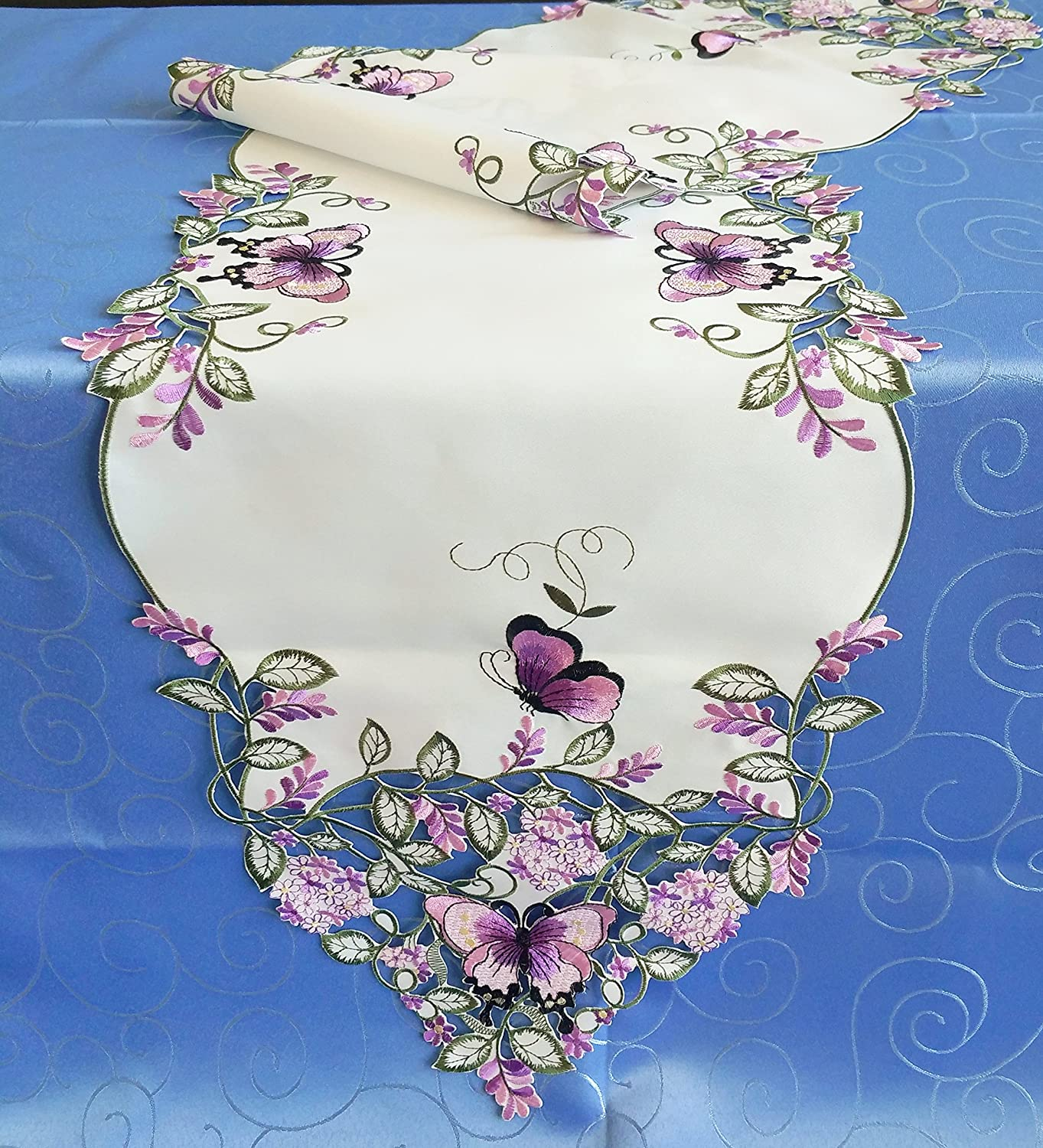Amazing Home Fashions Fabulous Embroidery Purple Butterfly & Lavender Flowers Table Runner (13X72) Jamie's Arts