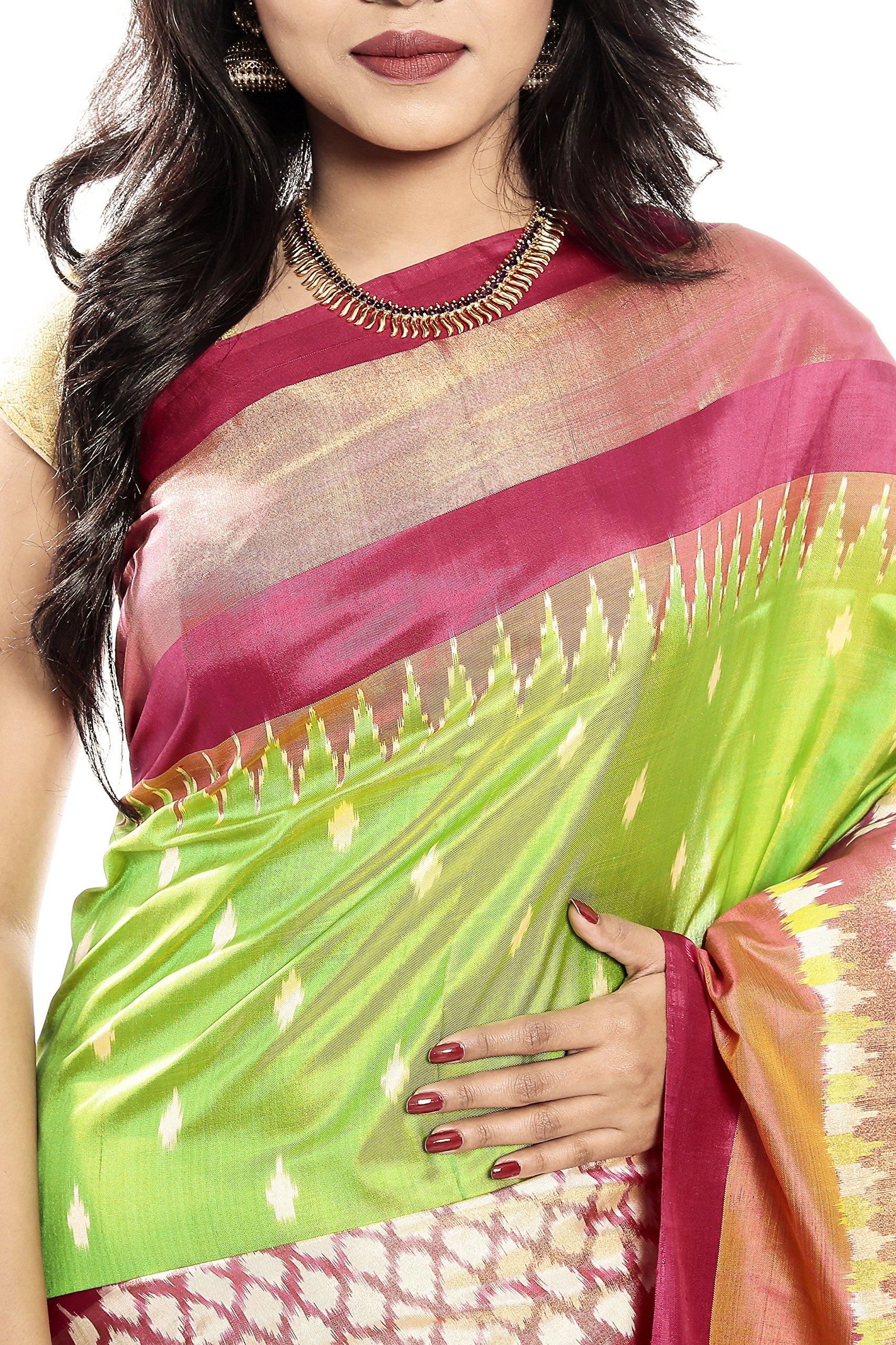 Mandakini — Indian Women's Pochampally - Handloom - Ikat Pure Silk Saree (Pink-Green ) (MK303) by Mandakini (Image #3)