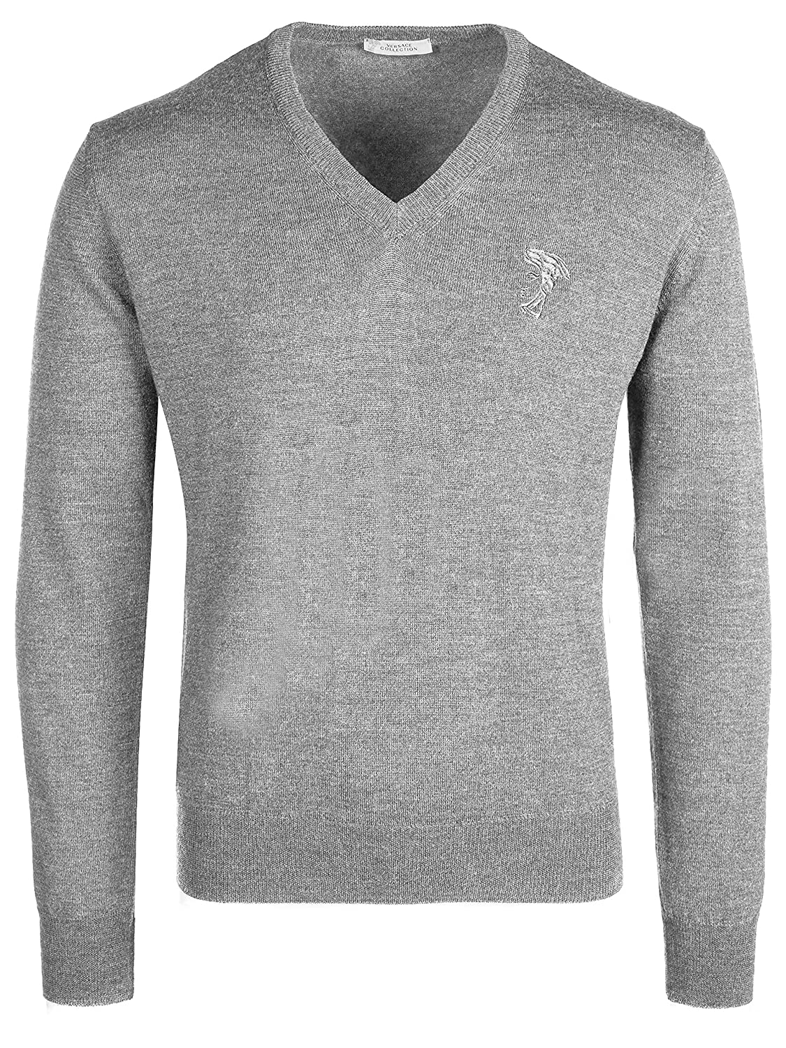 Versace Collection Light Gray V-Neck Wool Sweater