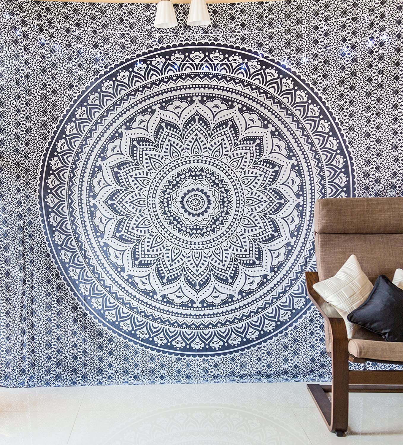 amazoncom indie pop mandala tapestry bedding with pillow covers  - amazoncom indie pop mandala tapestry bedding with pillow covers indianbohemian hippie tapestry wall hanging hippy blanket or beach throwmandala ombre