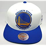 Mitchell & Ness Golden State Warriors STA3 XL Logo White Blue Adjustable Snapback Hat NBA