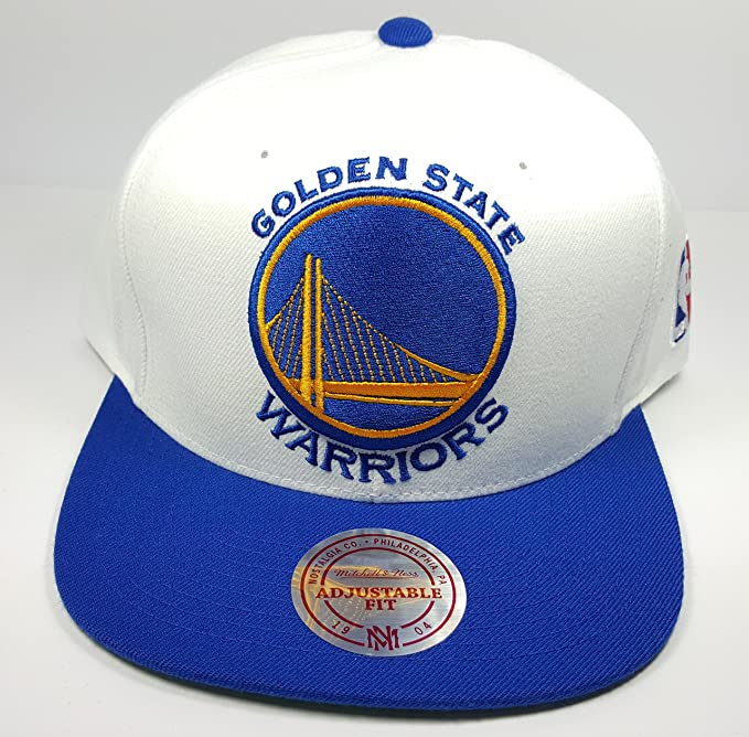 73eac0a03 Mitchell & Ness Golden State Warriors STA3 XL Logo White Blue Adjustable  Snapback Hat NBA