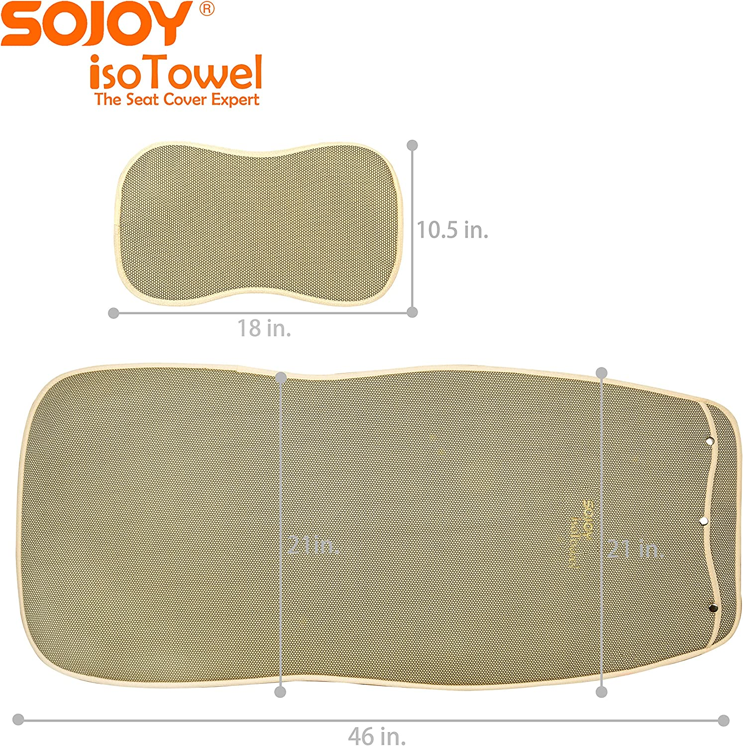 Tan Sojoy Universal Four Season Fashionable Car Seat Cushion Cover for Front of 2 Seats 2.0 New VersionHoneycomb Cloth
