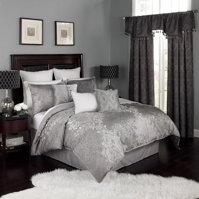 amazon com beautyrest 16322beddquepwt comforter set queen pewter