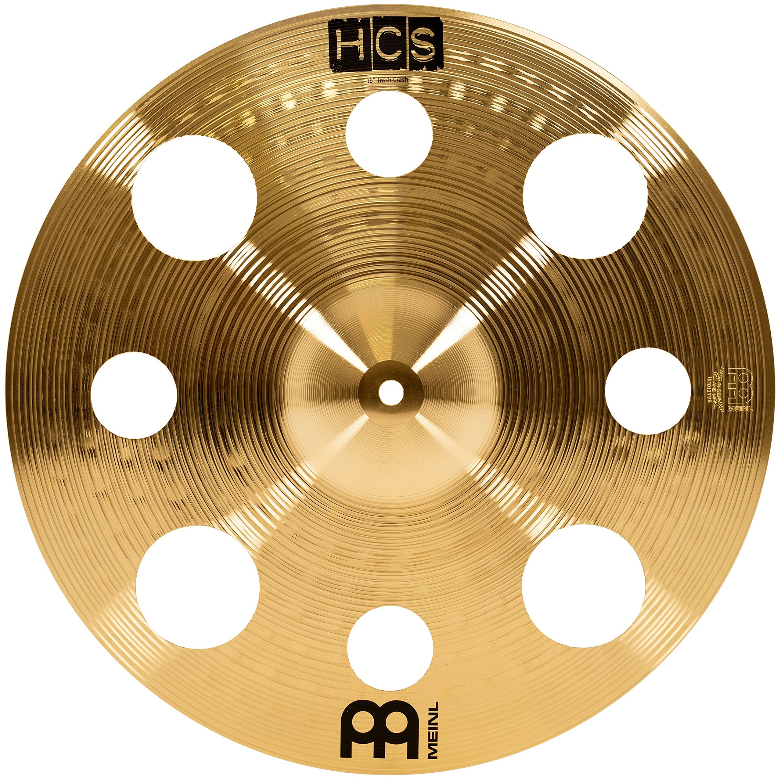 Meinl 16'' Trash Crash Cymbal with Holes - HCS Traditional Finish Brass for Drum Set, Made In Germany, 2-YEAR WARRANTY (HCS16TRC) by Meinl Cymbals
