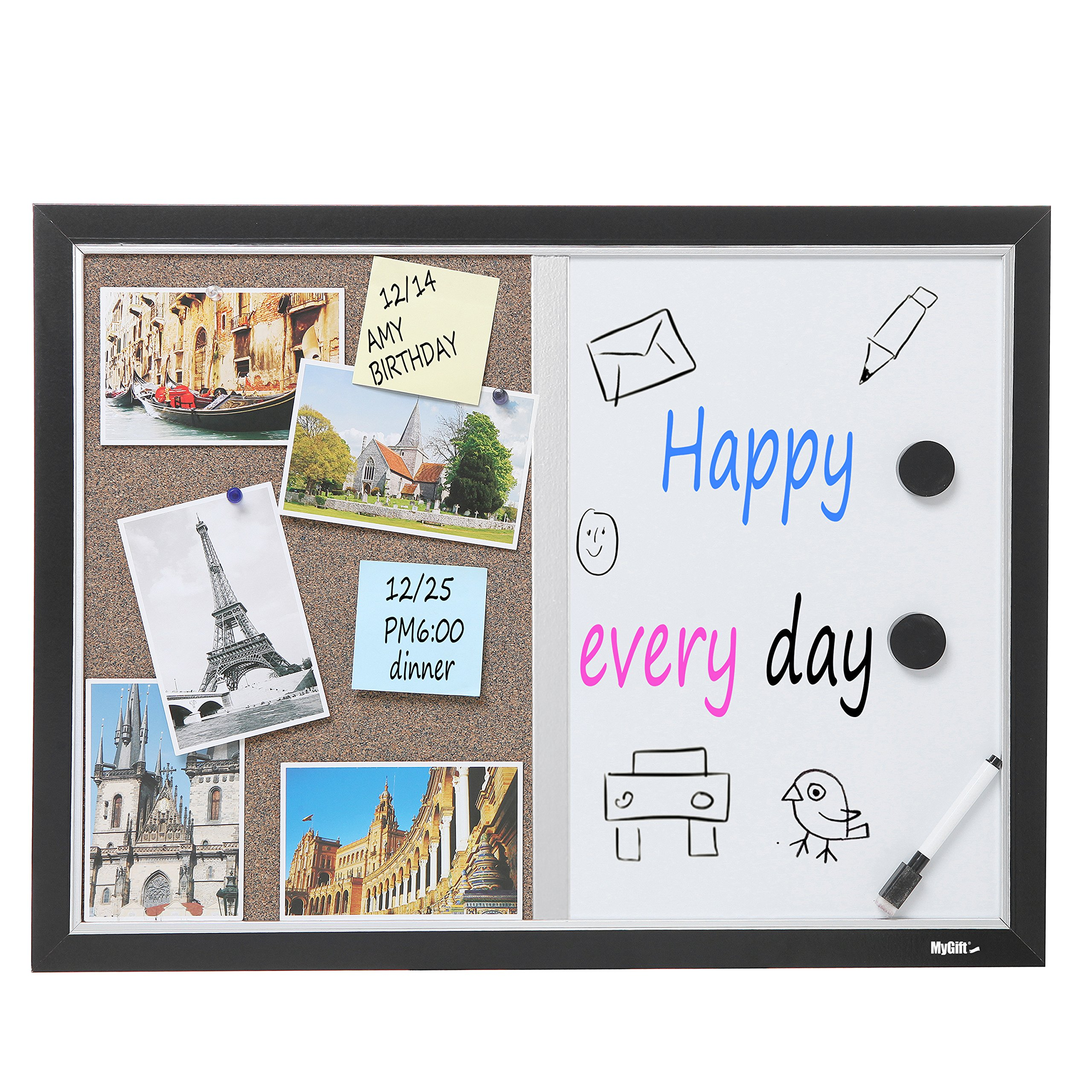2-in-1 Black Wood Framed Wall Mounted Combination Bulletin Cork Board & Magnetic Whiteboard - MyGift