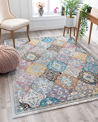 Well Woven Gente Multi-Color Vintage Bohemian Panel Design Area Rug 8×10 7 10 x 9 10