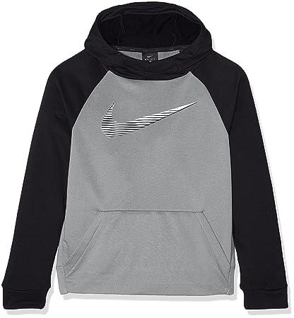 Nike Boys Dry Training Hoodie Sudadera de entrenamiento, Niños, Gris/Negro/