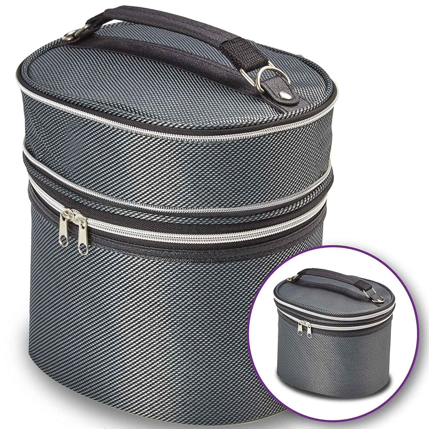 Silver Wig Travel Carrying Case - Lightweight and Portable Travelling Box - Zipper Top, Double Stitching - by Adolfo Design