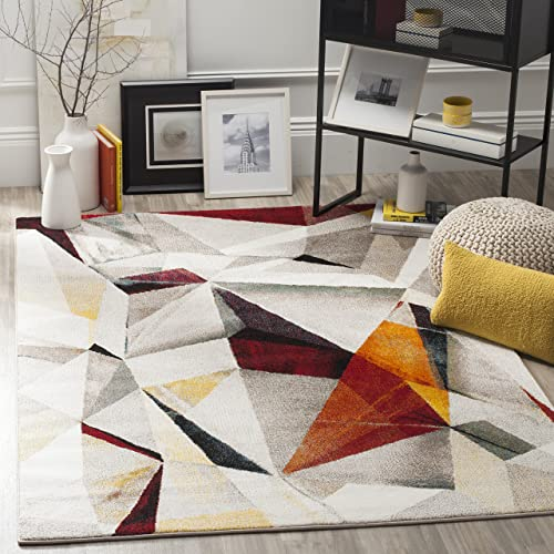 Safavieh Porcello Collection PRL6940F Modern Abstract Geometric Art Light Grey and Orange Area Rug 4 x 6