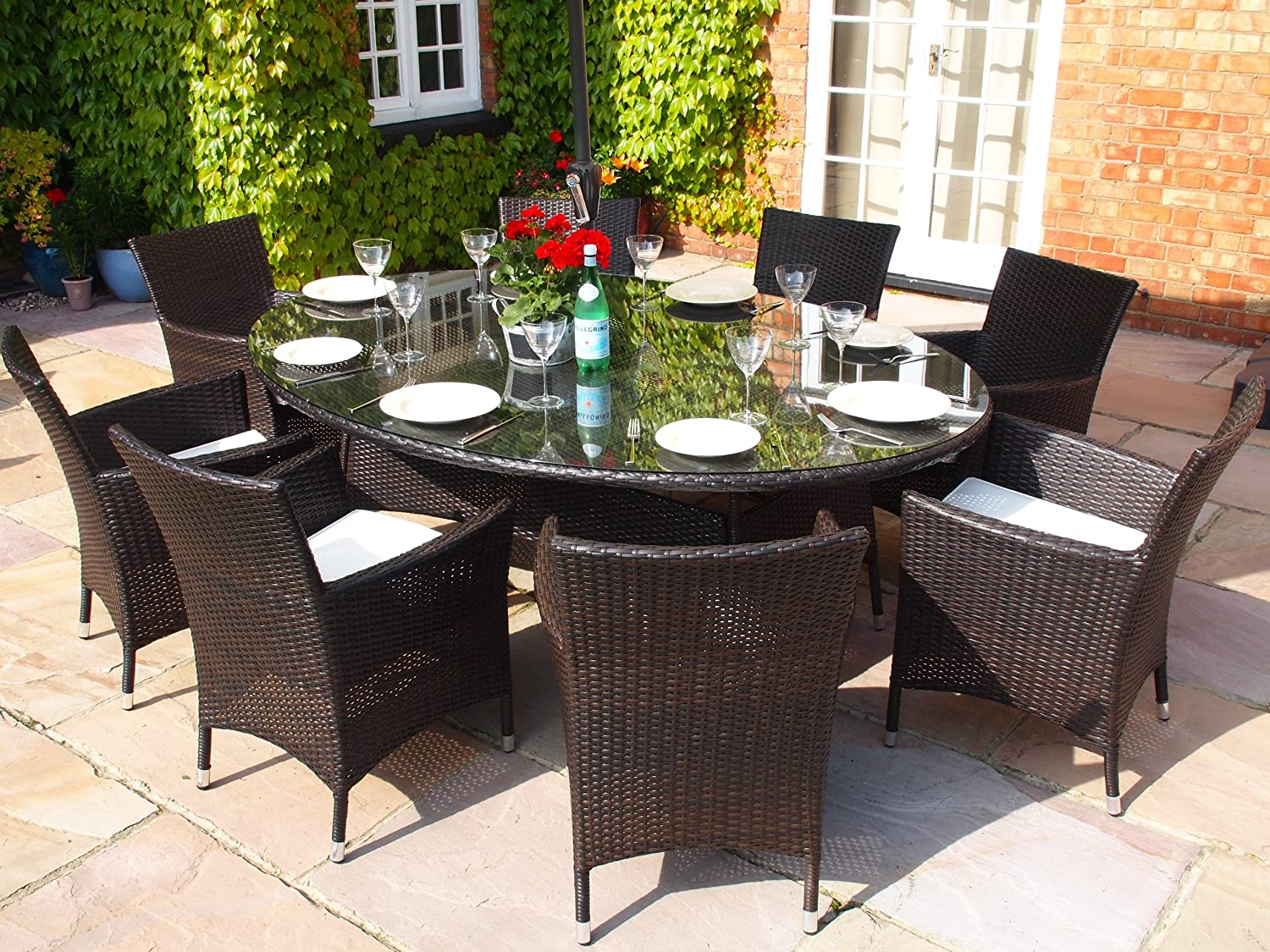 royal grey rattan dining set large oval table with large lazy