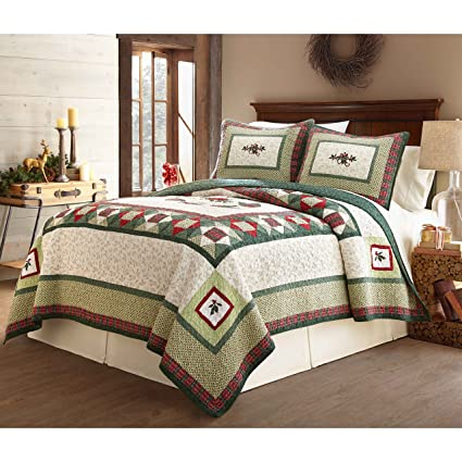 3 piece green white christmas theme quilt set queen red geometric medallion plaid pattern bedding